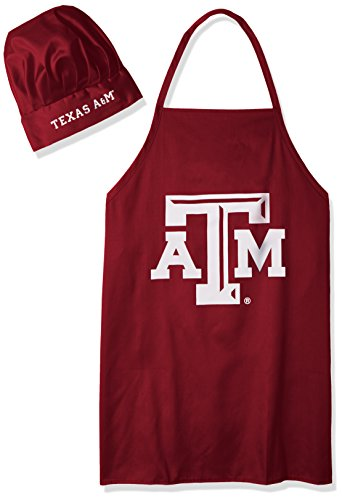 NCAA Texas A&M Aggies Mens Chef Hat & Apron, Full Color Team Logo (Barbecue Aggies Texas A&m)