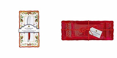 Le Cadeaux Garnet Biscuit And Baguette Tray and Butter Dish & Spreader Gift Sets ()
