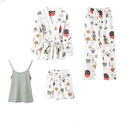 Servicio Dibujos 100 Piezas Larga De Baujuxing Otoño Manga Xl Xl Para A Algodón Primavera Mujer Pantalones Domicilio Pijamas Cuatro Animados Traje Cortos Y qST6xTwf
