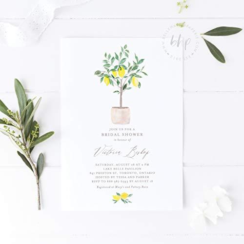 Dozili Bridal Shower Invitation Watercolor Lemon Tree Bridal Shower Invitation Editable Summer Invitation ()