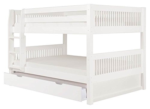 Full Over Full Low Bunk Bed with Twin Trundle in White Finis