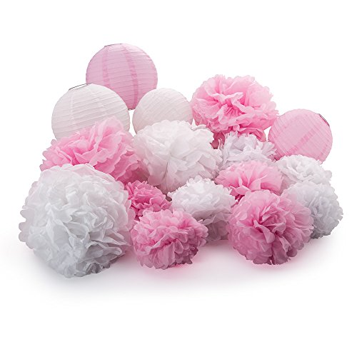 Active Arts 16 pcs Mixed 8'' 10'' 14'' White/Pink Tissue POM POMS and LANTERNS Bundle Wedding Party Baby Girl Nursery Room Decoration by Active Arts
