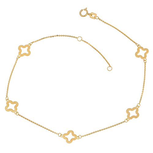 14k Yellow Gold Clover Flower Station Anklet (10 inch) (Clover Yellow 14k Gold)