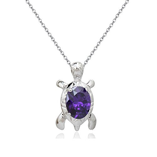 - Turtle Pendant Necklace with Purple Violet Zirconia Crystals 18 ct White Gold Plated for for Women and Girls 18