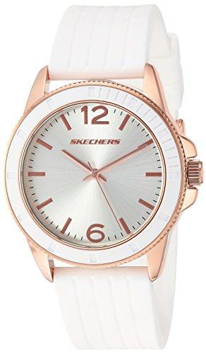 Skechers Women's 'Stripe Texture' Quartz Metal and Silicone Casual Watch, Color:White (Model: SR6087) (Silicone Watch White)