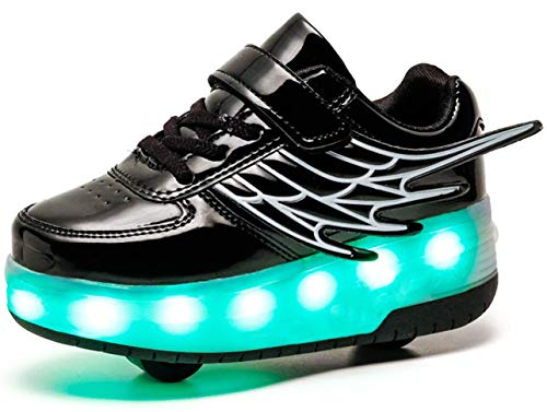 QJRRX Boy Girl Roller Shoes with Light Flashing Wheels Skate Sneaker for Kids Teens 28-40 ()