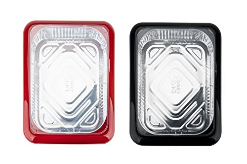 Fancy Panz FPAN2SET Portable Casserole Serveware 2-Piece Set, Dish Pan with Cover for Indoor and Outdoor Use, Red and Charcoal Color (2)