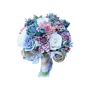 Florashop Bridal Holding Wedding Bouquet Mixed Fabric Flowers Bridal Wedding Throw Bouquet for Wedding Brides Bridesmaid Wedding Hold Flower 61