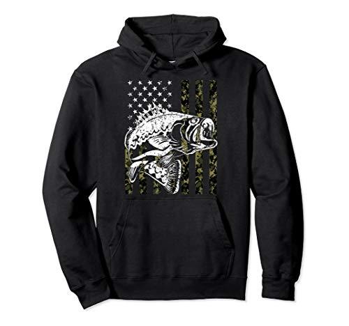 (Fishing Pullover Hoodie Camouflage American flag Fisherman )