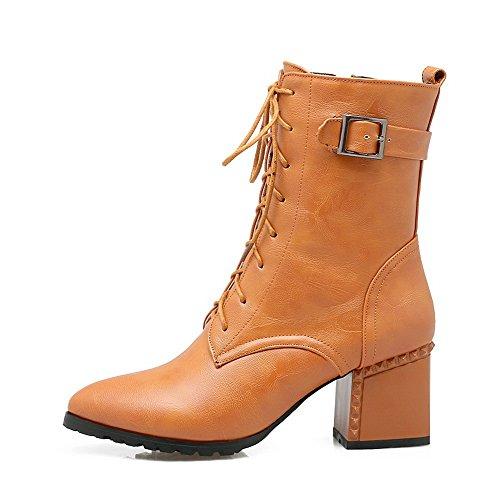 BalaMasa Womens Zipper Metal Buckles Solid Urethane Boots Yellow Pxqke