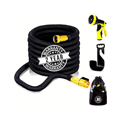 XpandaHose 75ft Expandable Water Garden Hose with Holder - Heavy Duty Triple Layered Latex Core and Free 10 Spray Nozzle with Storage Bag - Light Weight Flexible and Solid Brass -