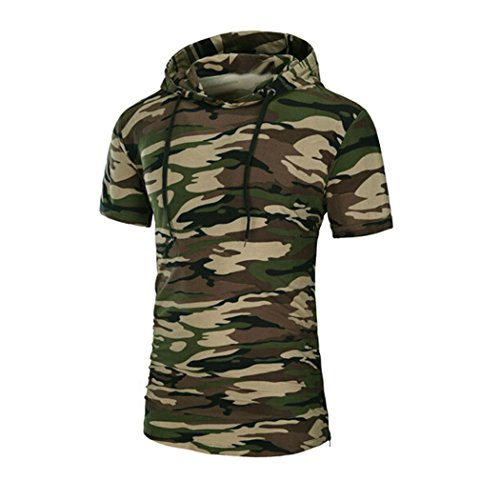 Men Tees Shirt, Inkach Mens Hipster Hip Hop Insufficient briefly Sleeve Pullover Hoodies Shirts (XXL, Camouflage)