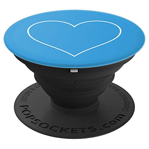 White Heart on XR Blue Design Love Romance Heart Gift - PopSockets Grip and Stand for Phones and Tablets