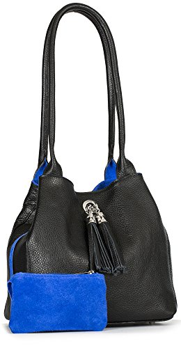 Size One ELLA Two Reversible amp; Leather Electric Bag Slouch with Blue Womens Black Shoulder Medium Suede in Real LIATALIA t6Bxvcw