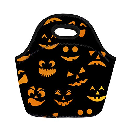 Semtomn Lunch Tote Bag Pattern Orange Halloween Pumpkins Carved Faces Silhouettes on Cartoon Reusable Neoprene Insulated Thermal Outdoor Picnic Lunchbox for Men -
