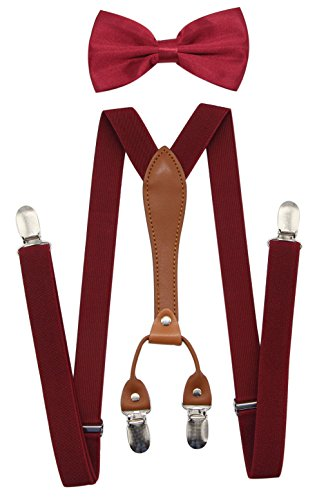 JAIFEI Suspenders & Bowtie Set- Men's Elastic X Band Suspenders + Bowtie For Wedding, Formal Events (Burgundy) ()