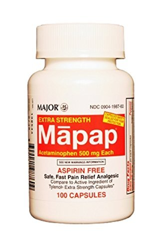 MAPAP 500MG CAPS UNBOXED ACETAMINOPHEN-500 MG Red/White 100 CAPS UPC 309041987609 by Major Pharmaceuticals -  AOEUA9W