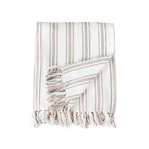 (C&F Home Ticking Stripe Clay 50 x 60 Inch Cotton Fringed Throw Blanket)