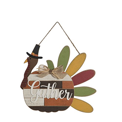 One Holiday Way Rustic Thanksgiving Turkey Welcome Sign Wall Art - Hanging Fall Decoration (Gather)