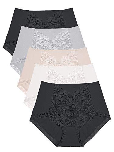 Intimate Portal True Comfy Modal Cotton Full Brief Panties No Panty Lines 5-Pk Black Black Beige Gray White XXL
