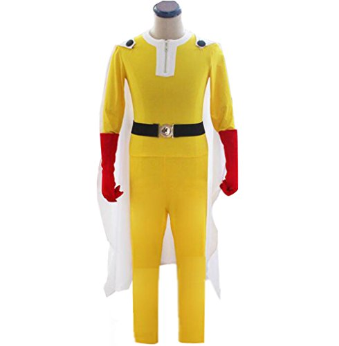Poetic Walk ONE PUNCH-MAN Saitama Outfits Cosplay Costume Jumpsuit Set (Large, Yellow)