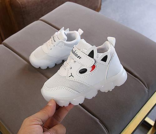 BBestseller Zapatos de malla zapatos casuales, letras LED zapatillas de deporte zapatos brillantes Zapatos de viaje antideslizantes Zapatillas Unisex Niño ...