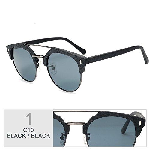 Popular Madera Sol De TIANLIANG04 Polarizadas Clásico Metal Gafas Y Gafas De BLACK Gafas Gafas En Azul Hombre Madera IgqwZSw