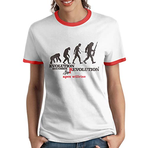 HAIGUANGZ Personalized Apes Army Evolution Become Revolution Ringer T-Shirt Short Sleeve for Womens Red L ()