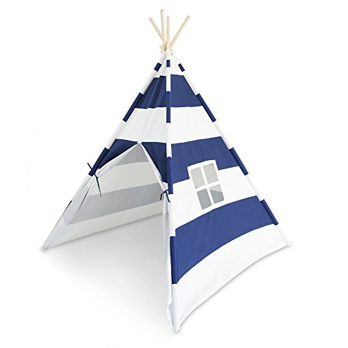 Tiny Hideaways Premium, Deluxe Kids Indoor Teepee Tent with Thick Canvas Fabric, Peek-a-Boo Window, Tiebacks, Covered Pole Sleeves, and Canvas Carry Case (Nautical Blue)