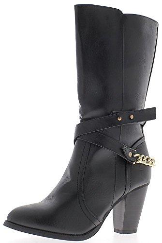8cm große schwarze niedrigen Ferse Damen Stiefel gefüttert