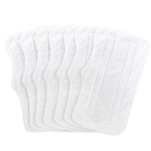 Fushing 7Pcs Steam Mop Pads, Washable Microfiber Cleaning Steamer Mop Replacement Pads for Shark Light and Easy Steam Mop Steam Cleaners S3101 S3101n2 S3250 S3251 SK460 SK410 SK435CO SK140 SK141,White