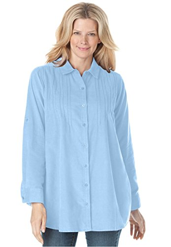 Pinwale Corduroy Shirt (Plus Size Woman Within Bigshirt In Pinwale Corduroy (Sky)