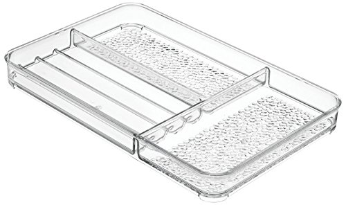 414dCPvm1TL - InterDesign Rain Cosmetic Organizer Tray for Vanity Cabinet to Hold Makeup, Beauty Products - Medium, Clear