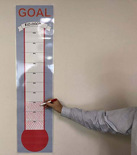 Donation Thermometer Goal Chart - Dry Erase Reusable Goal Chart Poster - 12