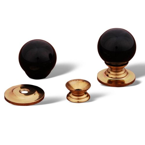 (RK International RKI 305-Black R.K. International CK 305 Black Porcelain Knob, Polished Brass)