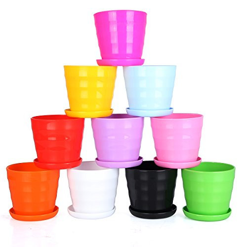 easeetop-43-set-of-10-multicolor-flower-pots-flower-planters-plant-pots-containers-with-trays-for-su