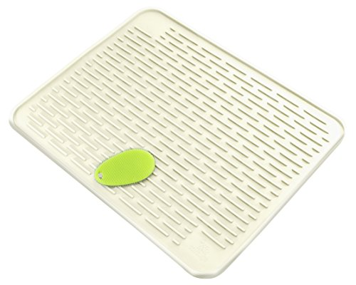 XXL 23 x 18 Deep Silicone Dish Drying Mat (LARGEST MAT) With Stay Clean Scrubby | Anti-Bacterial, Dish Washer Safe | Heat Resistant Trivet | (Pure White)