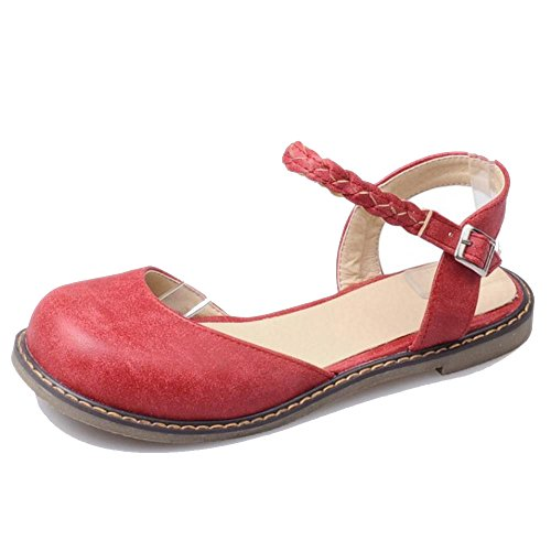 COOLCEPT Fashion Low Flats Casual Shoes 1470 Red 5GUmIC5