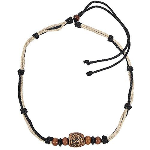 JESSE · RENA Men's Jewelry Hemp Beach Choker Pendant Surfer Necklace Accessories (Cream/Black)