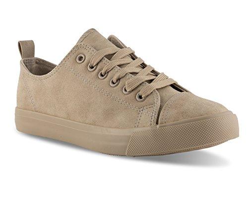 Twisted Women's Low Top Faux Leather Sneaker -KIXLO300 Stone, Size 8