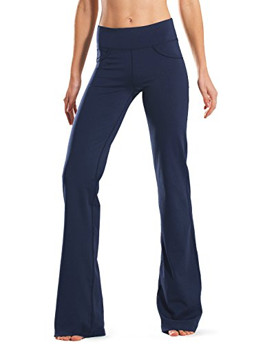 "Safort 28"" 30"" 32"" 34"" Inseam Regular Tall Bootleg Yoga Pants, 4 Pockets, UPF50+, Blue, L"