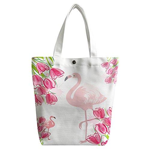 Violetpos Benutzerdefiniert Canvas Handtasche Einkaufstaschen Umhängetasche Schultasche Lunch-Tasche Rosa Mischung Tulip Bulbs Flamingos Qm5zYhvx