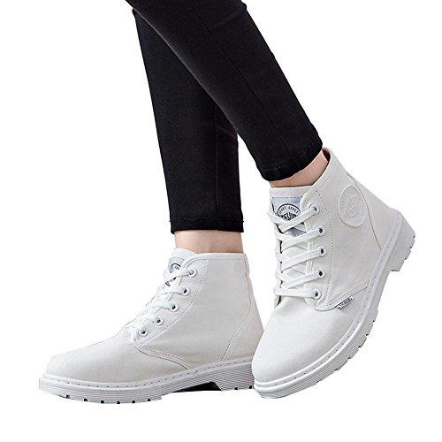tacco donne Short BLACK caviglia piatto di stivali laccio sport Martin WHITE alla casual scarpe tela caldo 37 con 37 tqBrq4