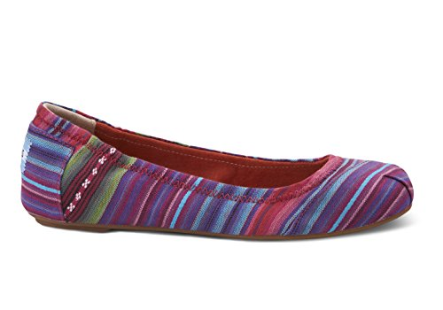 TOMS SHOES Women's Ballet Flat Shoes Woven Stripe 8B(M)US
