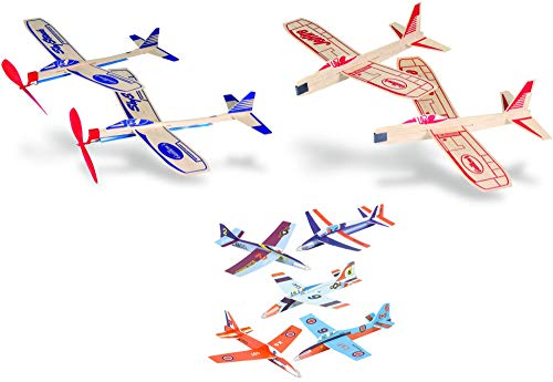 Balsa Wood and Foam Airplane Set - 4 Balsa Wood and 6 Foam Model Plane Kits in 1 Set - Jetfire Plane Twin Set, Sky Streak Propeller Plane Twin Set, and 6 Foam Fighter Gliders