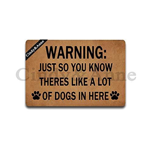 (Tdou Mats Warning Just So You Know There's Like A Lot of Dogs in Here Doormat Entrance Floor Mat Funny Doormat Door Mat Decorative Indoor Outdoor Doormat 23.6 by 15.7 Inch)