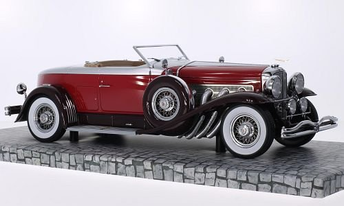 Duesenberg J Torpedo Convertible Coupe, red/silver, 1929, Model Car, Ready-made, Minichamps 1:18 -