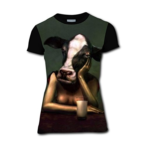 Unhappy Cow Bossy Cattle Fulness Casual T Shirts Running 3D Printed Tee Tops for Women L