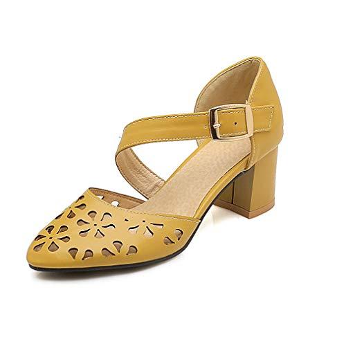(JOYBI Women Closed Toe Dress Sandals Buckle Hollow Slip On Cut Out Summer Thick Heel Pumps Sandal Shoes Yellow)