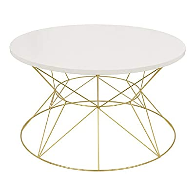 Kate and Laurel Mendel Round Metal Coffee Table, White Top with Gold Base - Decorative wood and metal accent coffee table perfect for small living areas in your home Round cage base coffee table will be a charming living room or sitting room center accent table The table dimensions are a 30-inch diameter top, 29-inch diameter base, and a height of 16.5 inches - large enough to anchor a furniture group but small enough to walk around - living-room-furniture, living-room, coffee-tables - 414dFF15QXL. SS400  -
